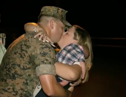 Family welcomes home Marine with late night reunion